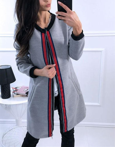 Image of Fashion Casual Splice Colored Ribbon Vest Jacket Coat Gray m