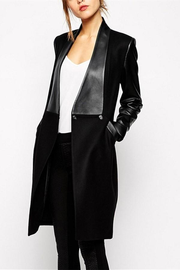 Fashion Casual  Woollen Suiting Pu Leather Long Slim Coat Black s