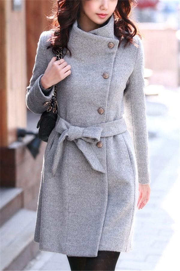 Fashion Casual Pure Color Slim Long And Slim Woolen Overcoat Gray s