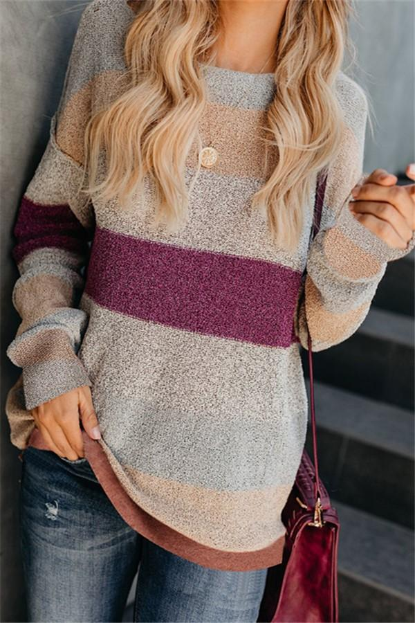 Fashion Casual Color Matching Long And Loose Knit Sweater Multi s