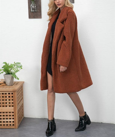 Image of Fashion Casual Pure Color Long Faux Fur Oversize Plush Warm Coat Black l