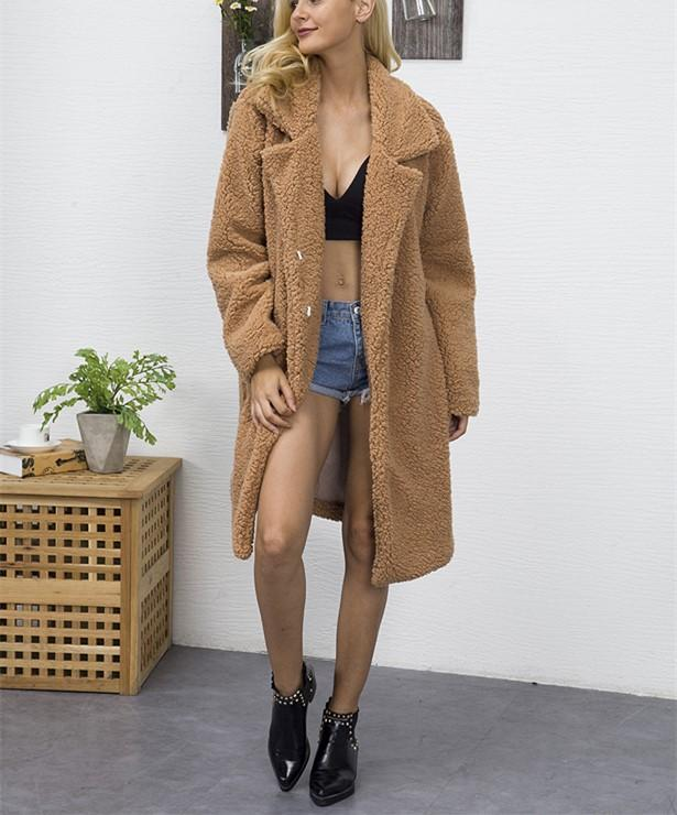 Fashion Casual Pure Color Long Faux Fur Oversize Plush Warm Coat Dark Brown 2xl