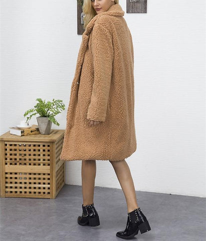 Image of Fashion Casual Pure Color Long Faux Fur Oversize Plush Warm Coat Dark Brown 3xl