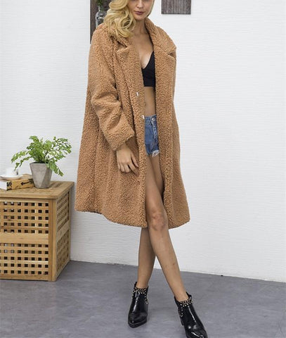 Image of Fashion Casual Pure Color Long Faux Fur Oversize Plush Warm Coat Dark Brown xl