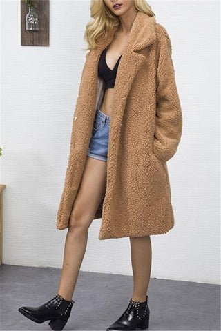 Image of Fashion Casual Pure Color Long Faux Fur Oversize Plush Warm Coat Dark Brown s