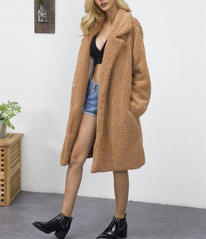 Image of Fashion Casual Pure Color Long Faux Fur Oversize Plush Warm Coat Dark Brown l
