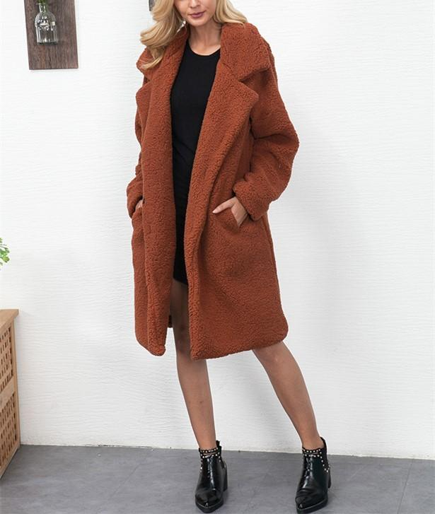 Fashion Casual Pure Color Long Faux Fur Oversize Plush Warm Coat Black m