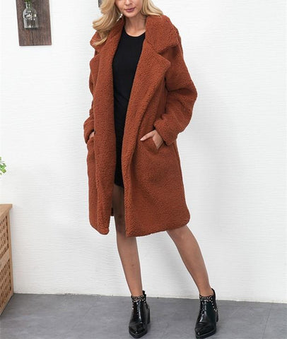 Image of Fashion Casual Pure Color Long Faux Fur Oversize Plush Warm Coat Black m