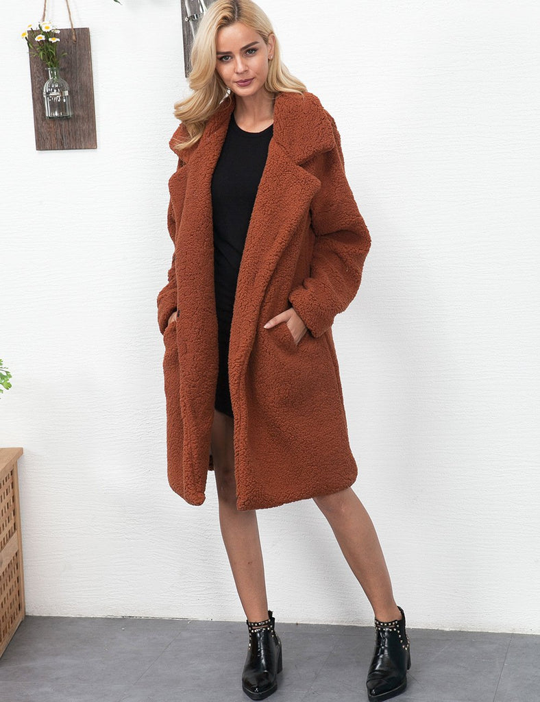 Fashion Casual Pure Color Long Faux Fur Oversize Plush Warm Coat Black xl