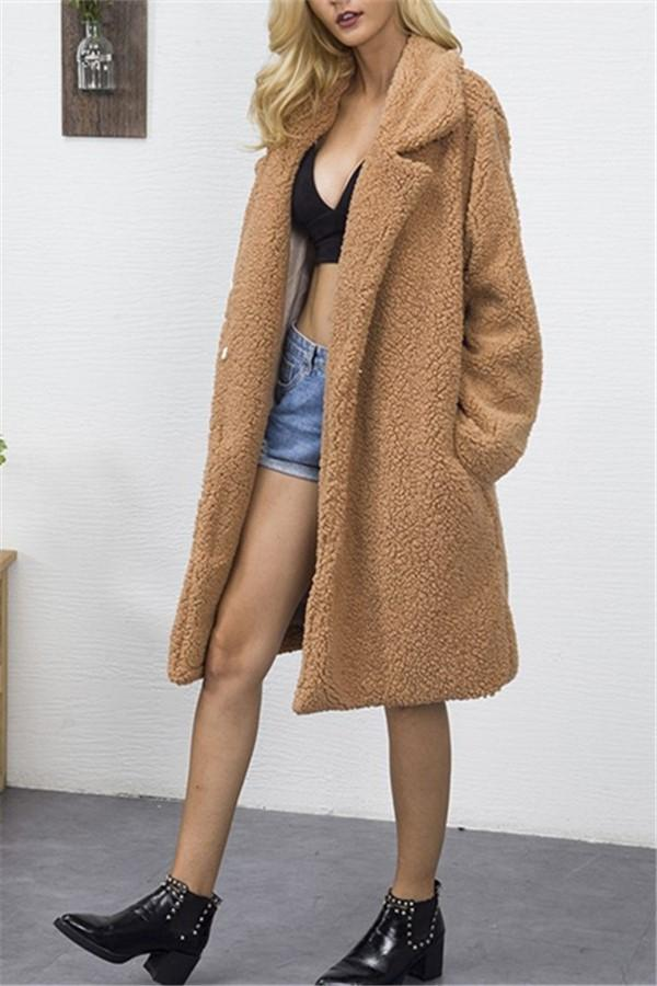 Fashion Casual Pure Color Long Faux Fur Oversize Plush Warm Coat Dark Brown m