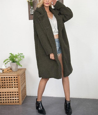 Image of Fashion Casual Pure Color Long Faux Fur Oversize Plush Warm Coat Light Brown 3xl