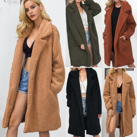 Image of Fashion Casual Pure Color Long Faux Fur Oversize Plush Warm Coat Light Brown s