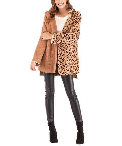 Image of Fashion Casual Double Pile Leopard Print Long Sleeved Cardigan Jacket Coat Camel xl