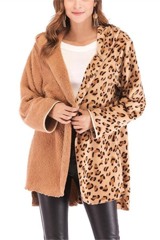 Image of Fashion Casual Double Pile Leopard Print Long Sleeved Cardigan Jacket Coat Camel s