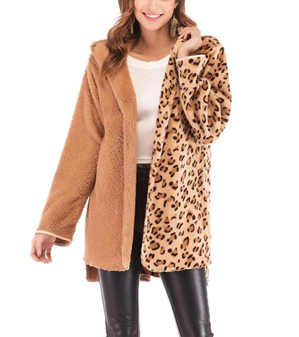 Image of Fashion Casual Double Pile Leopard Print Long Sleeved Cardigan Jacket Coat Camel l