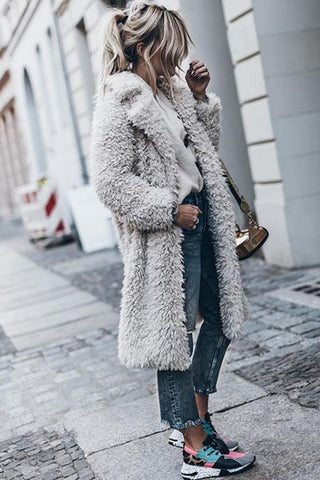 Image of Faux Fur Collar  Plain Coats Light Gray s