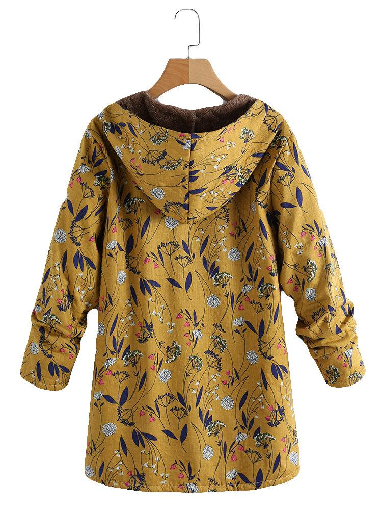 Fashion Casual Velvet And Thick Ethnic Printed Cotton Padded Coat Yellow l