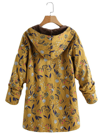 Image of Fashion Casual Velvet And Thick Ethnic Printed Cotton Padded Coat Yellow l