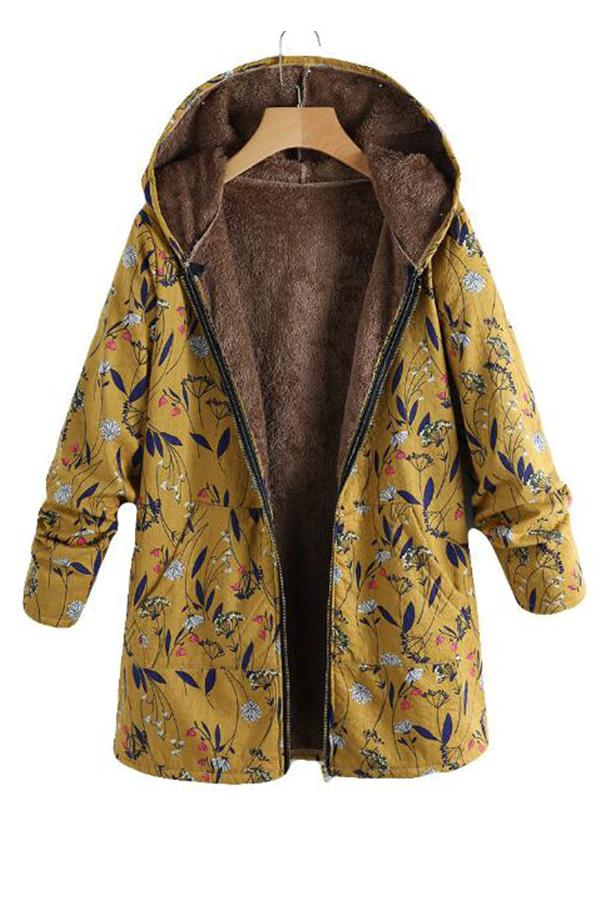 Fashion Casual Velvet And Thick Ethnic Printed Cotton Padded Coat Yellow s