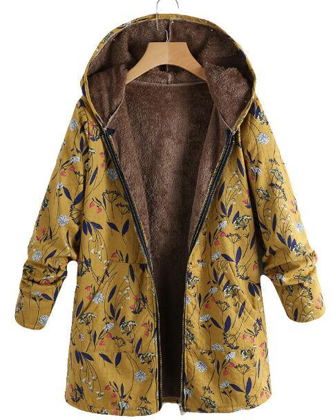Fashion Casual Velvet And Thick Ethnic Printed Cotton Padded Coat Yellow m