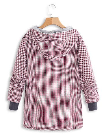 Image of Fashion Casual National Style With Fleece Plaid Cotton-Padded Clothes Coat Pink l