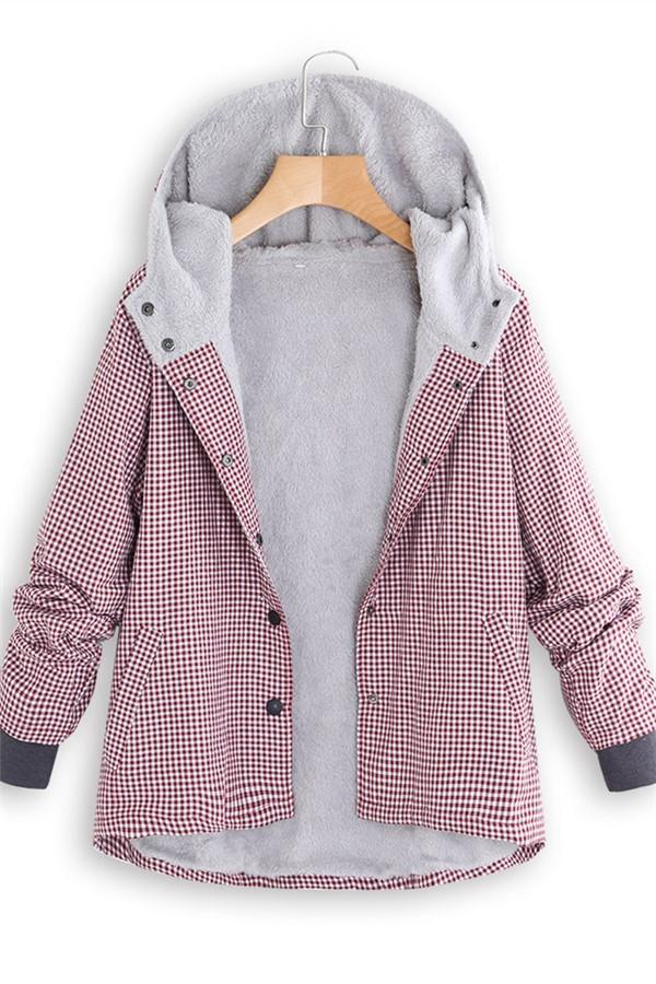 Fashion Casual National Style With Fleece Plaid Cotton-Padded Clothes Coat Pink m