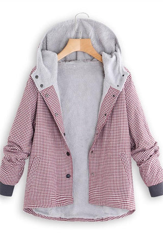Image of Fashion Casual National Style With Fleece Plaid Cotton-Padded Clothes Coat Pink m
