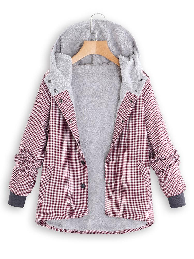 Fashion Casual National Style With Fleece Plaid Cotton-Padded Clothes Coat Pink s