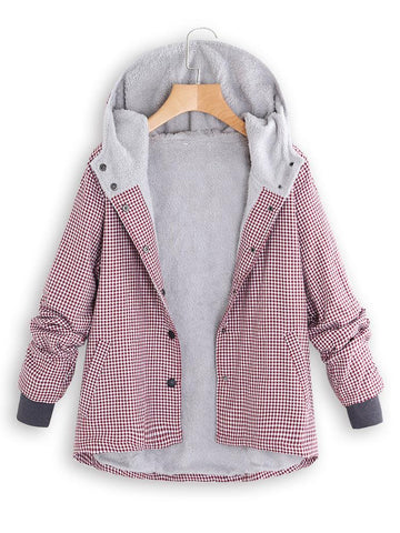 Image of Fashion Casual National Style With Fleece Plaid Cotton-Padded Clothes Coat Pink s