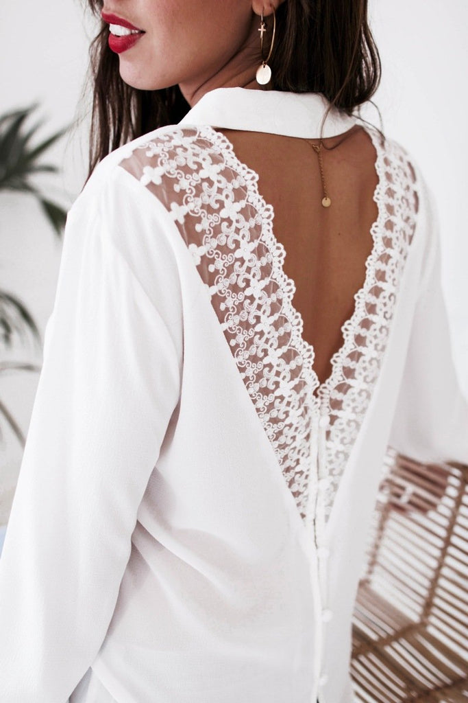 Fashion Casual Sexy V-Neck Lace Over A Hollowed Out Long Sleeve Shirt White xl