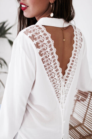 Image of Fashion Casual Sexy V-Neck Lace Over A Hollowed Out Long Sleeve Shirt White xl