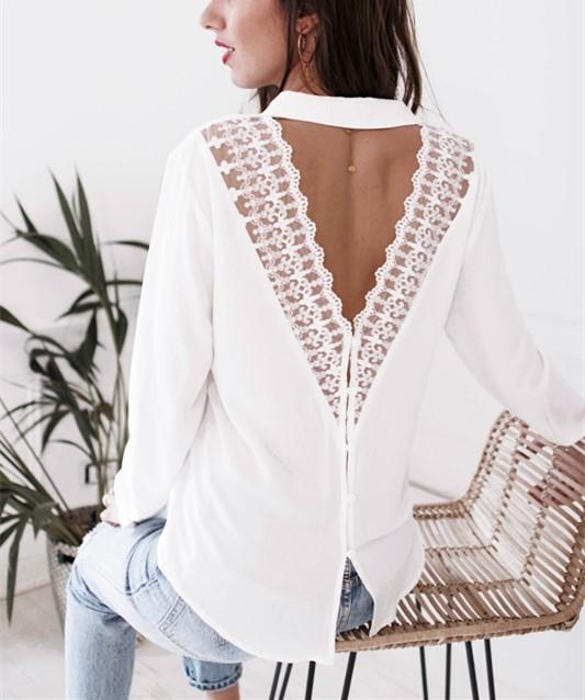 Fashion Casual Sexy V-Neck Lace Over A Hollowed Out Long Sleeve Shirt White l