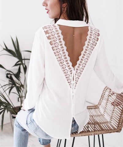 Image of Fashion Casual Sexy V-Neck Lace Over A Hollowed Out Long Sleeve Shirt White l