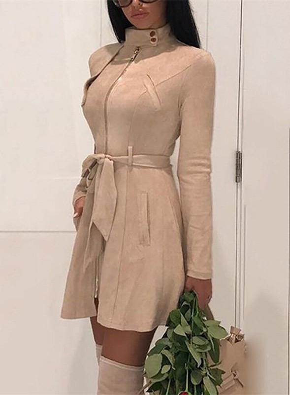 Fashion Casual Sexy Deer Velvet High Waisted Belted Windbreaker Coat Khaki m