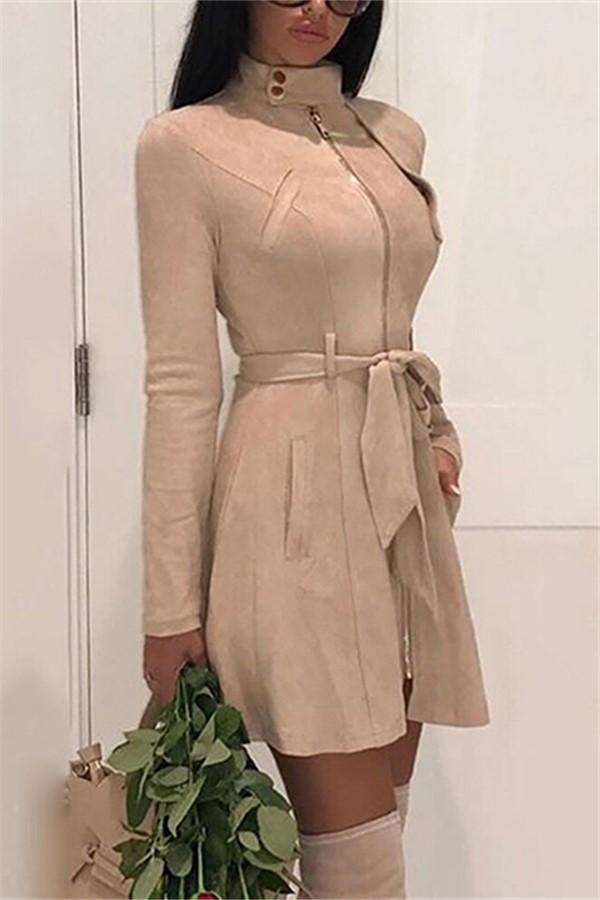 Fashion Casual Sexy Deer Velvet High Waisted Belted Windbreaker Coat Khaki s