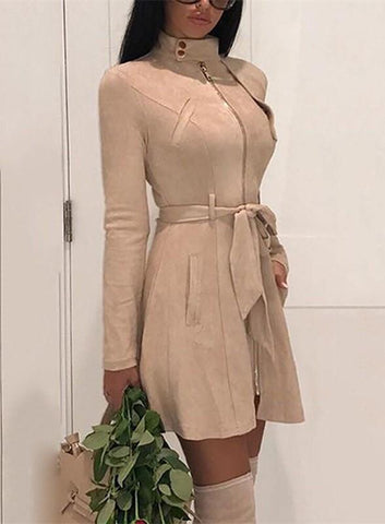 Image of Fashion Casual Sexy Deer Velvet High Waisted Belted Windbreaker Coat Khaki l