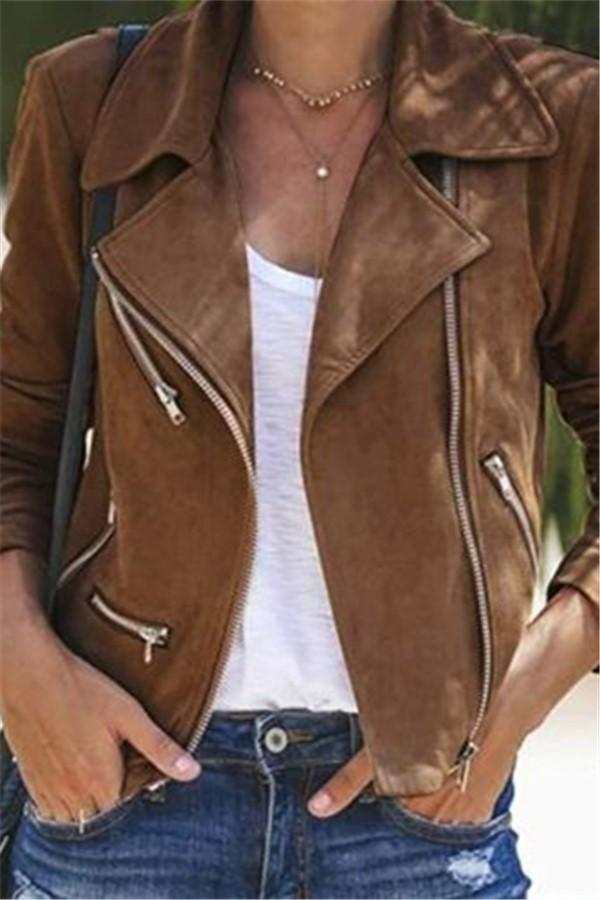 Fashion Casual Pure Color Lapel Multiple Zipper Jacket Coat Khaki s