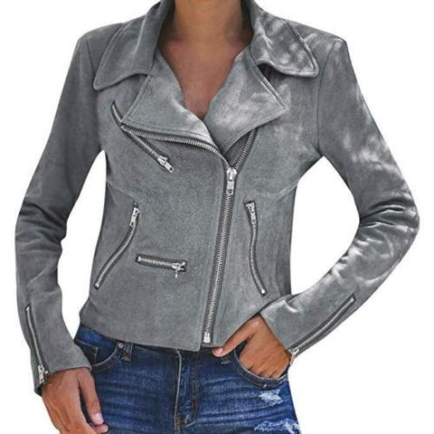 Image of Fashion Casual Pure Color Lapel Multiple Zipper Jacket Coat Gray s