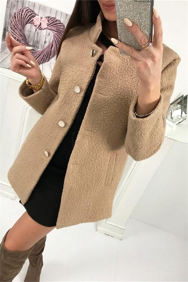 Fashion Casual Pure Color  Single Breasted Suit With A Wool Coat Khaki s