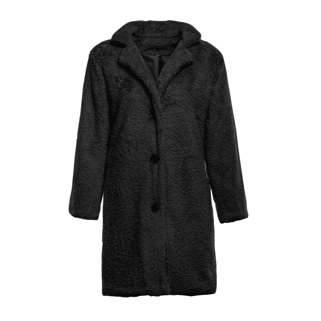 Fashion Casual Pure Color  Long-Sleeved Suit Collar Long Plush Coat Black xl