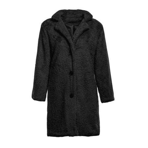 Image of Fashion Casual Pure Color  Long-Sleeved Suit Collar Long Plush Coat Black xl