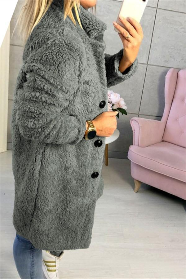 Fashion Casual Pure Color  Long-Sleeved Suit Collar Long Plush Coat Gray s