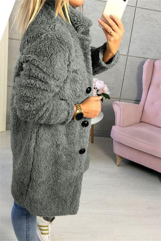 Image of Fashion Casual Pure Color  Long-Sleeved Suit Collar Long Plush Coat Gray s