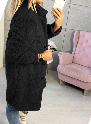 Image of Fashion Casual Pure Color  Long-Sleeved Suit Collar Long Plush Coat Black l