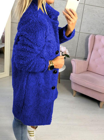 Image of Fashion Casual Pure Color  Long-Sleeved Suit Collar Long Plush Coat Blue m