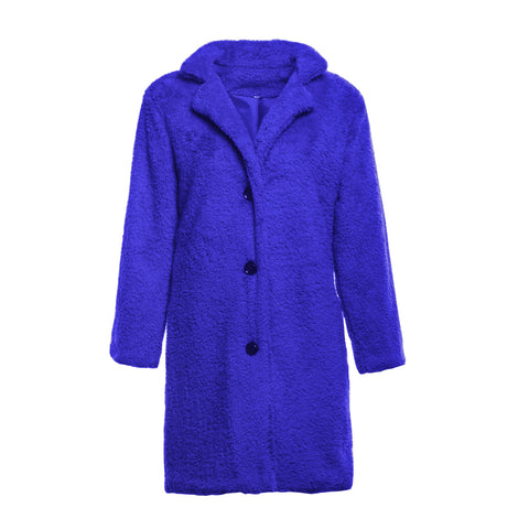 Image of Fashion Casual Pure Color  Long-Sleeved Suit Collar Long Plush Coat Blue xl