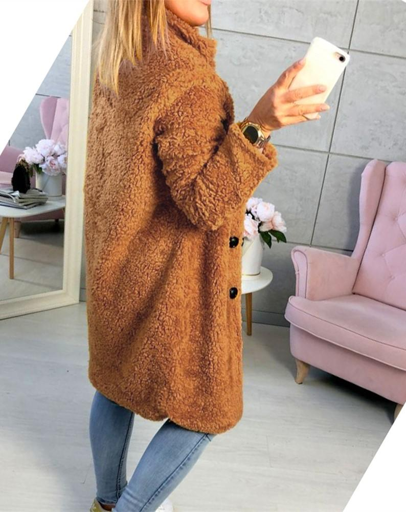Fashion Casual Pure Color  Long-Sleeved Suit Collar Long Plush Coat Yellow m