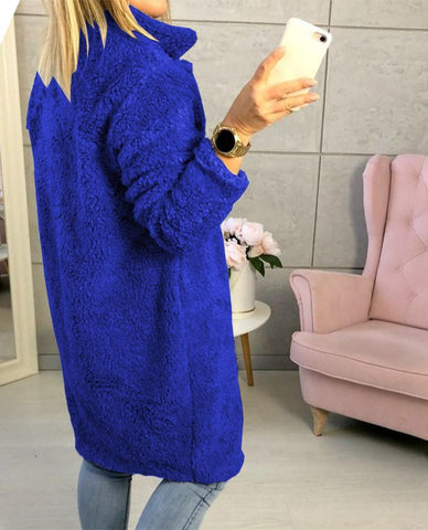 Image of Fashion Casual Pure Color  Long-Sleeved Suit Collar Long Plush Coat Blue l