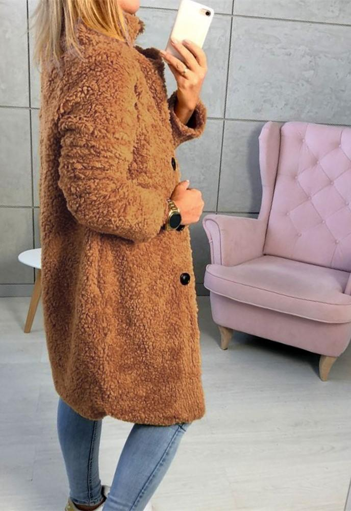 Fashion Casual Pure Color  Long-Sleeved Suit Collar Long Plush Coat Yellow l