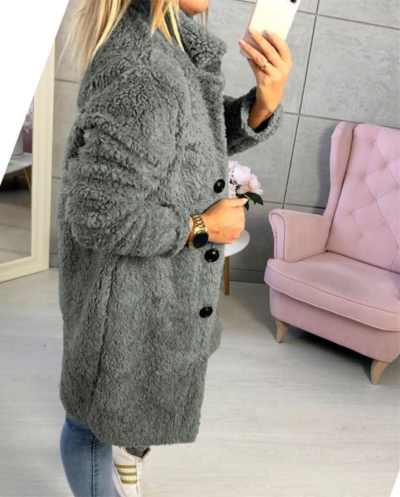 Fashion Casual Pure Color  Long-Sleeved Suit Collar Long Plush Coat Gray m